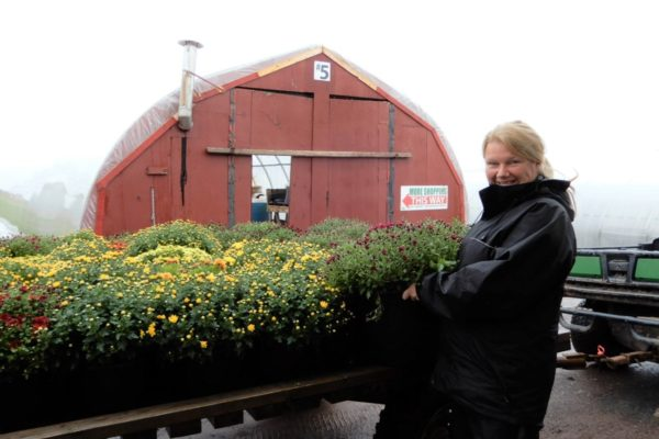 Melissa with wagon of mums