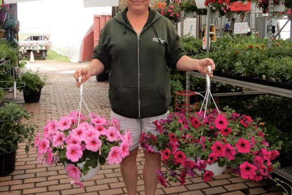 tanya with hanging baskets