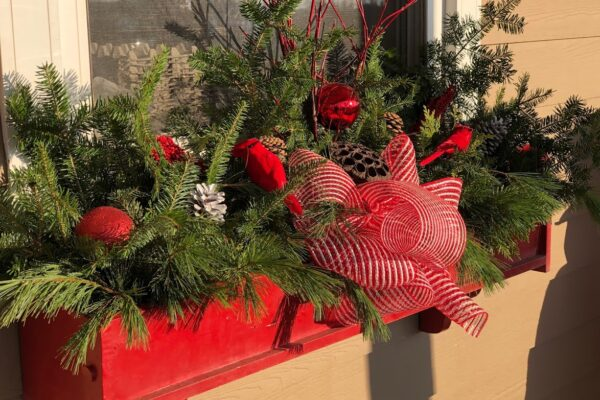 festive window box Christmas containers